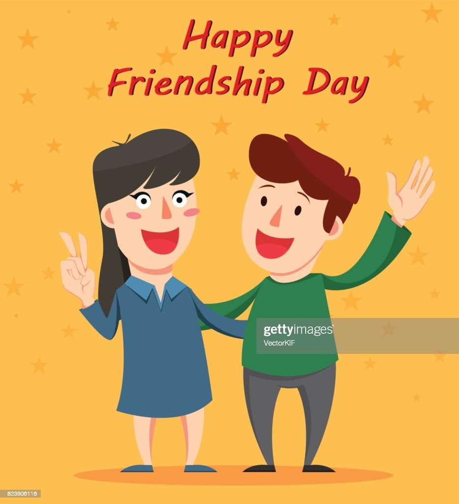 Happy Friendship Day Greeting Card Friends Hugging And Smiling