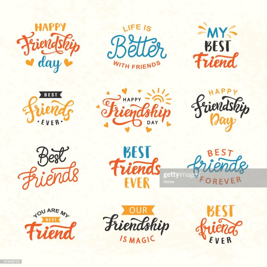Happy Friendship Day hand lettering big set