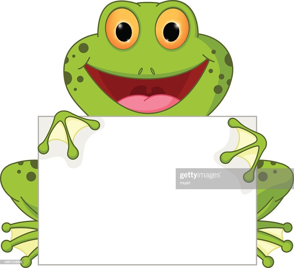 Happy frog cartoon with sign