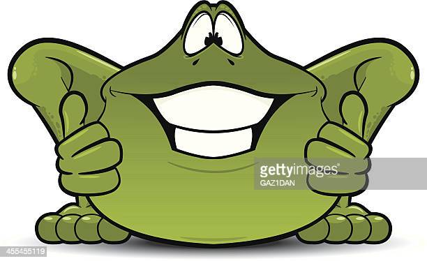 happy frog with thumbs up - cartoon characters with big teeth stock illustrations