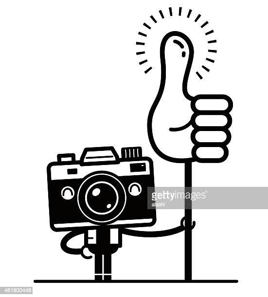 Happy full length unique Camera Character holding thumbs up sign