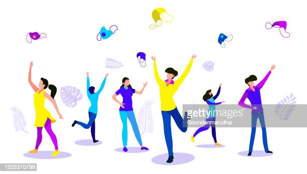 happy fun people open hand arms take off face mask, put back. covid 19 sick stop, lockdown end after ill. new normal safe life escape step, sun sky city fresh air breath joy, god love faith pray concept. - glühend stock illustrations