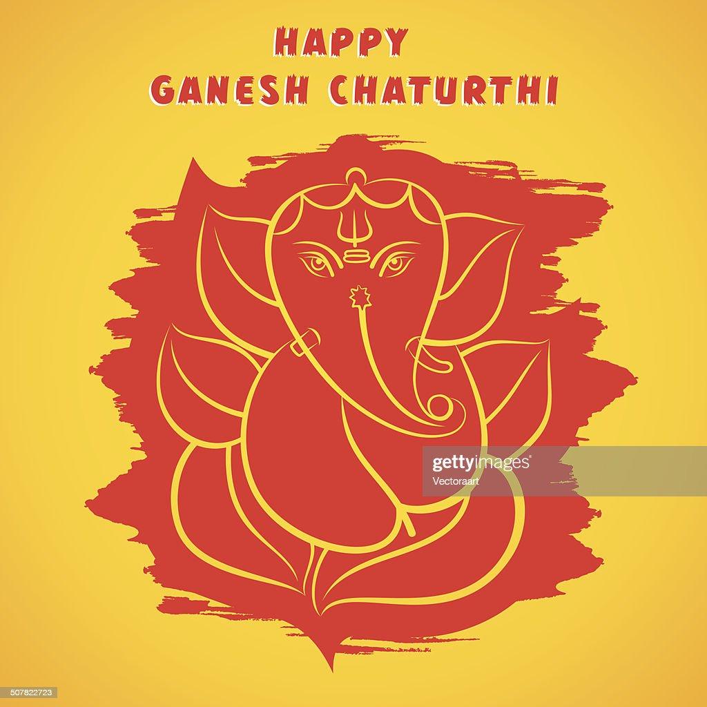 Happy Ganesh Chaturthi Sketch Greeting Card Design Vector Art