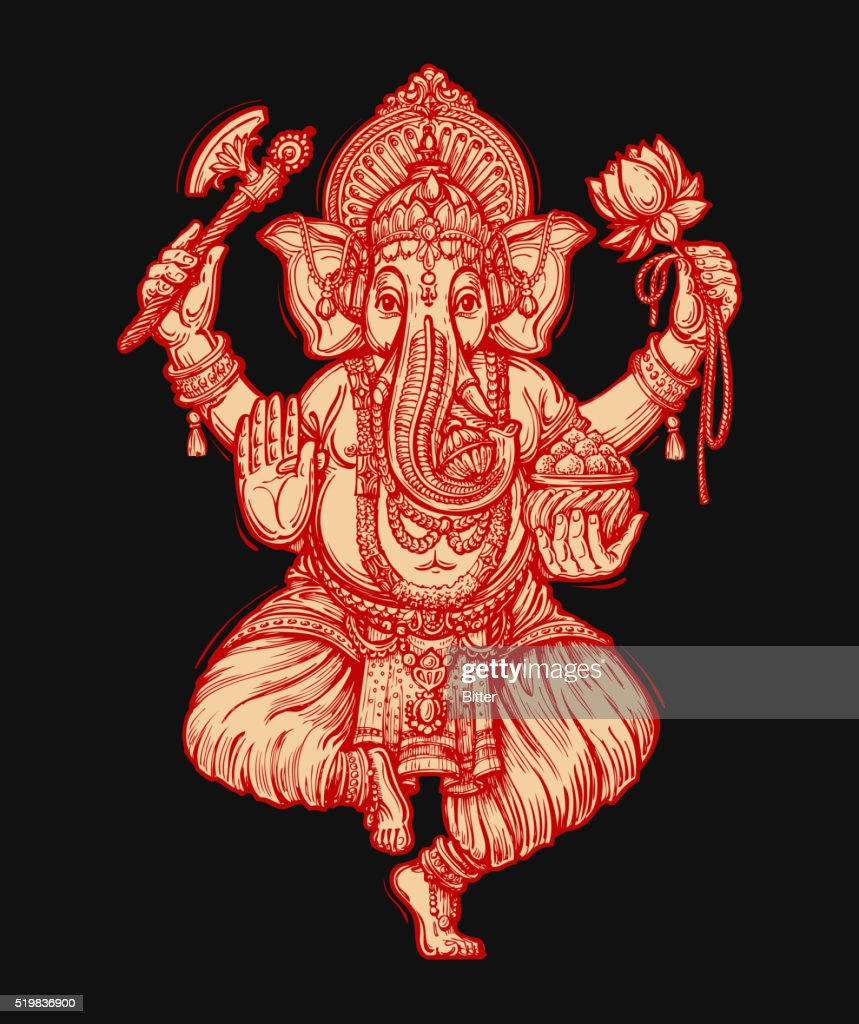 Happy Ganesh Chaturthi. Vector illustration of Hindu lord