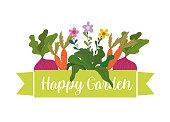 happy garden carrots beetroot plants flowers