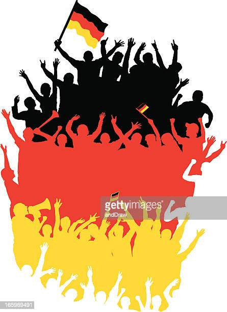 happy germans fans in shape of germany map. - fan enthusiast stock illustrations, clip art, cartoons, & icons