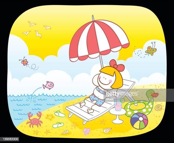 Happy girl at beach cartoon illustration