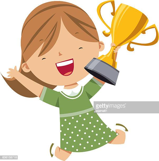 Happy girl holding gold trophy