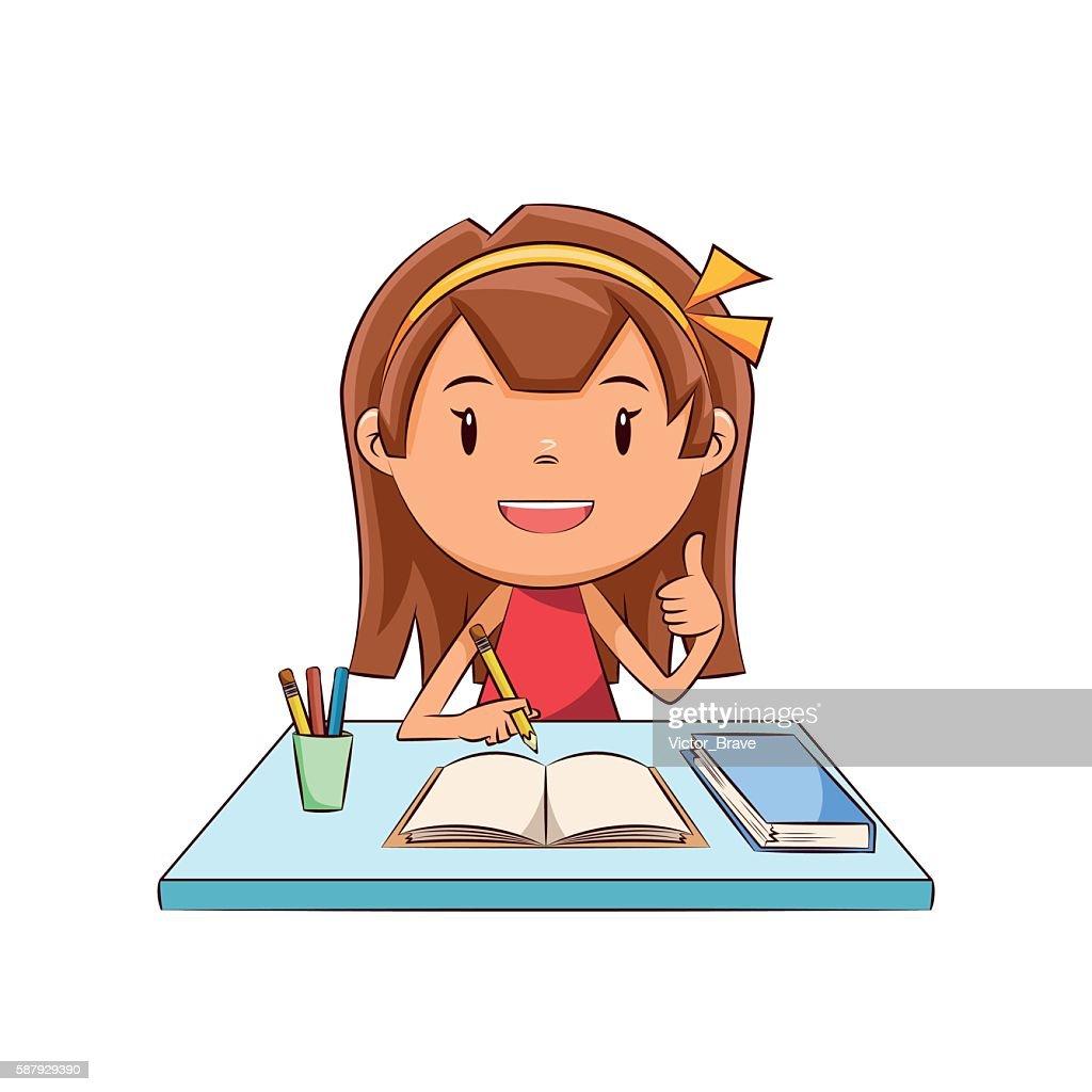 Happy girl homework