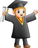 Happy girl in black graduation gown