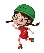 Happy girl in green helmet rollerskating