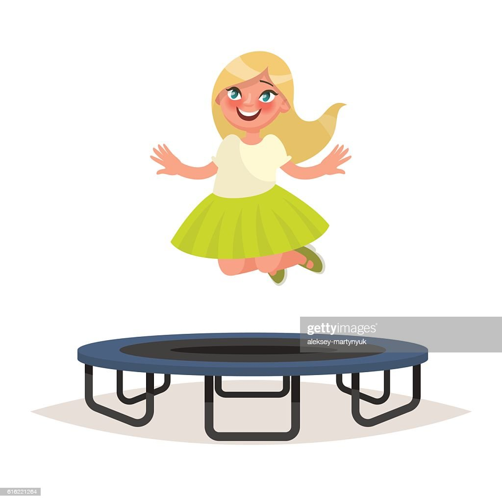 Happy girl jumping on a trampoline. Vector illustration : Vectorkunst
