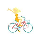 Happy Girl Riding Bicycle