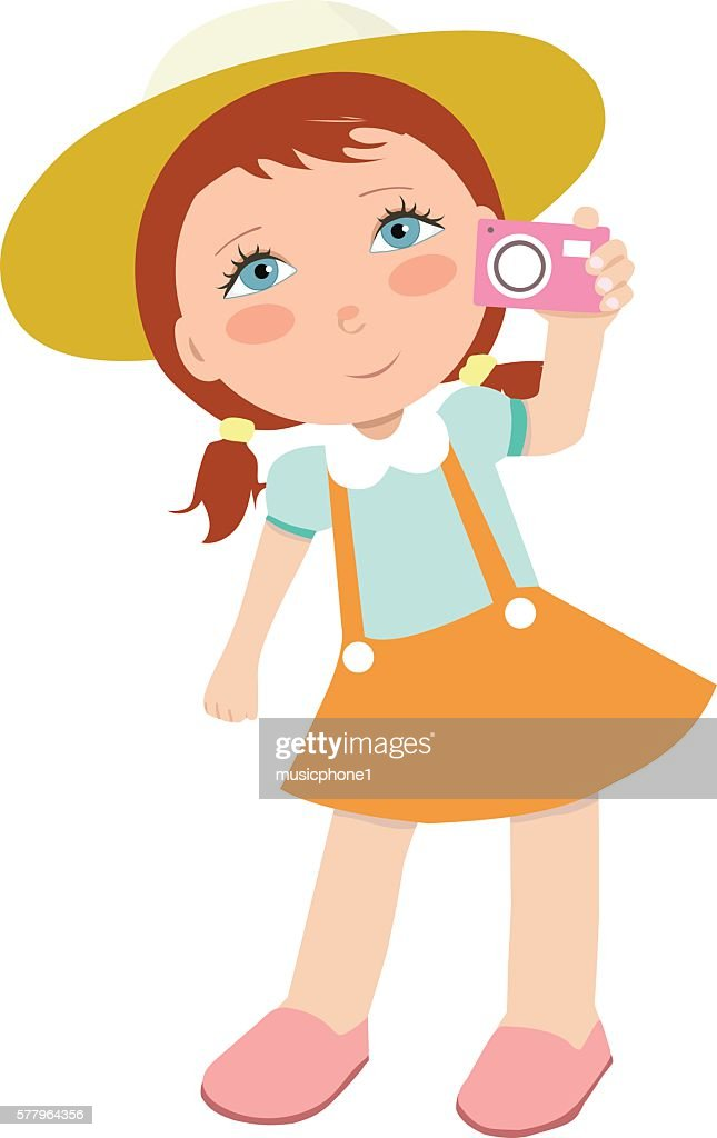 Happy girl taking photos.