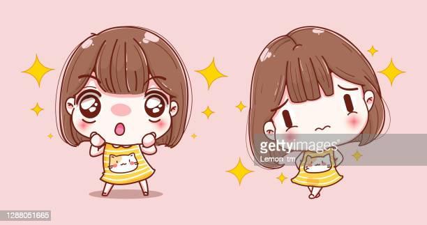 happy girl winks eyes character design