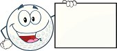 Happy Golf Ball Cartoon Character Showing A Sign
