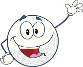 Happy Golf Ball Cartoon Character Waving For Greeting