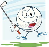 Happy Golf Ball Swinging A Club With Background