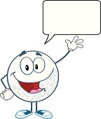 Happy Golf Ball Waving For Greeting With Speech Bubble