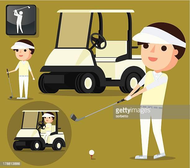 happy golfer - drive ball sports stock illustrations, clip art, cartoons, & icons