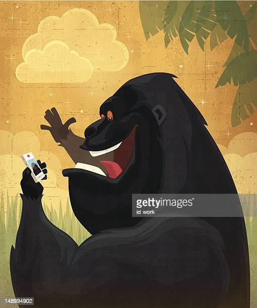 happy gorilla chatting