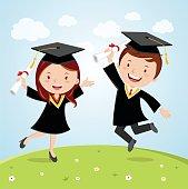 Happy graduated students