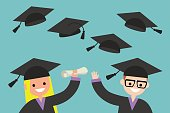 Happy graduates throwing their graduation hats in the air / flat editable vector illustration, clip art