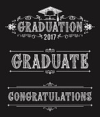 Happy Graduation day. Congratulations in Victorian style. Design of greeting cards in vintage style