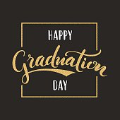 Happy Graduation day. Hand drawn lettering for greeting, invitation card