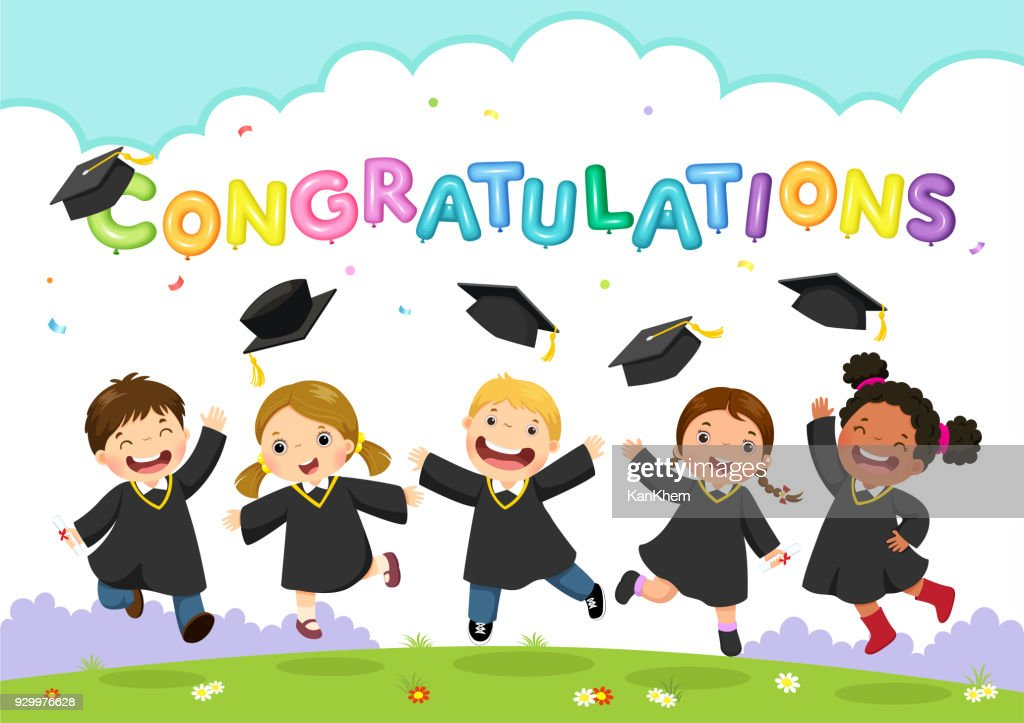 Happy graduation day. Vector illustration of students celebrating graduation