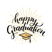Happy Graduation. Hand drawn lettering for greeting, invitation card