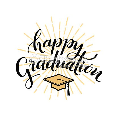 Happy Graduation Hand Drawn Lettering For Greeting Invitation Card