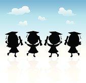 Happy graduation kids silhouette
