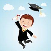 Happy graduation man