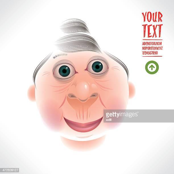 happy grandma caricature - updo stock illustrations, clip art, cartoons, & icons