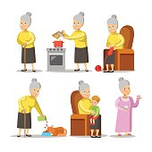 Happy Grandmother with Grandson Cartoon