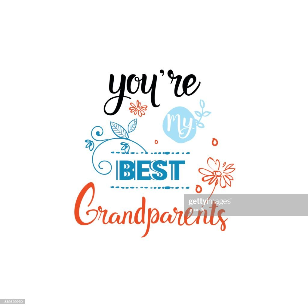 Happy Grandparents Day Greeting Card Banner Text Over White
