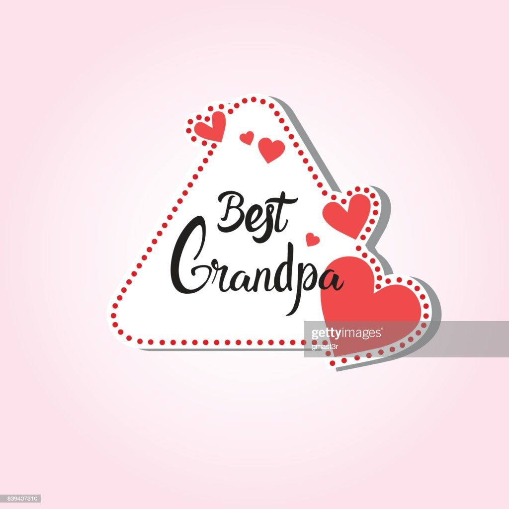 Happy Grandparents Day Greeting Card Sticker Colorful Over Pink