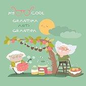 Happy grandparents farming