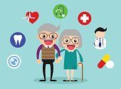 Happy grandparents health care with health icons/ old age healthy vector illustration concept.