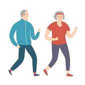 Happy grandparents running together
