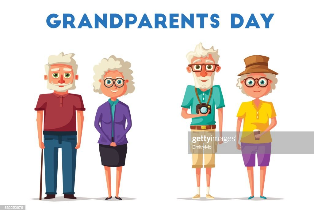 Happy grandparents. Vector cartoon illustration. Grandparents day