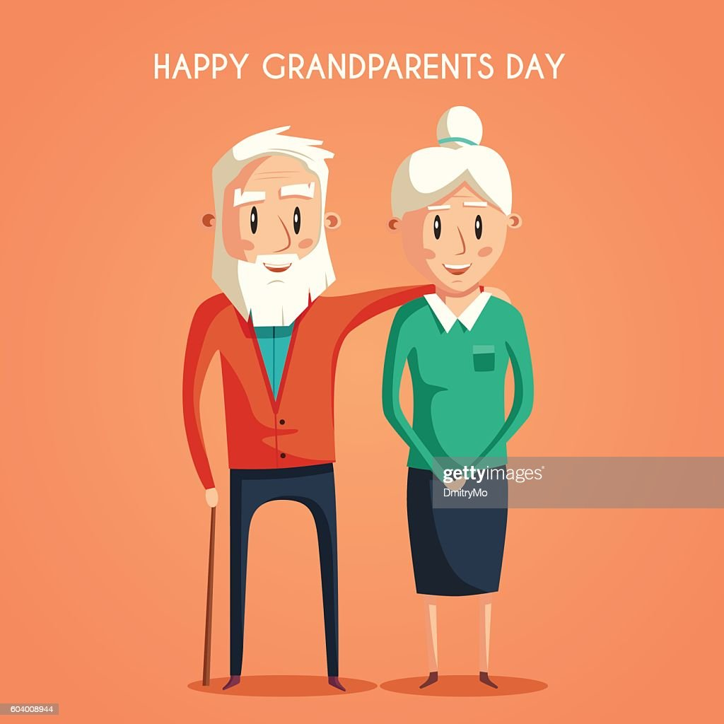 Happy grandparents. Vector cartoon illustration