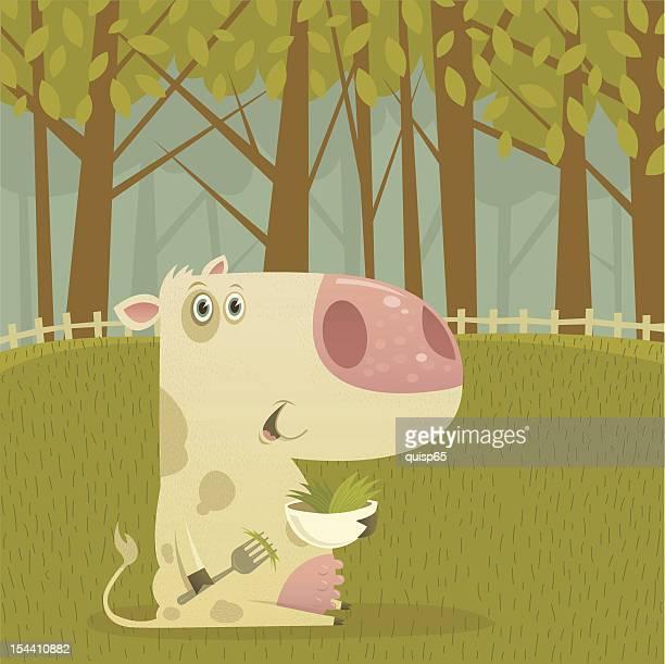 Happy Gras gefütterten Kuh Essen in der Pasture