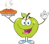 Happy Green Apple Holding Up A Pie