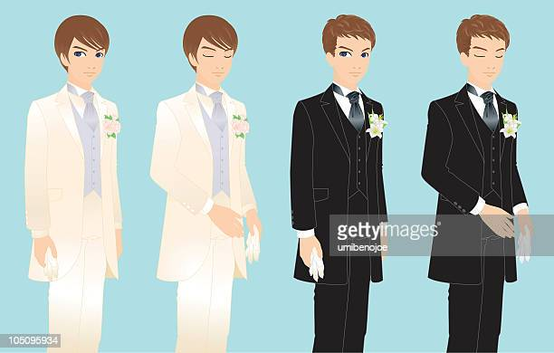 happy groom on marriage - easter lily stock illustrations
