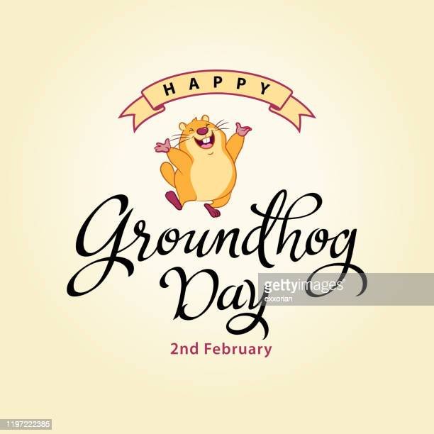happy groundhog day calligraphy - groundhog day stock illustrations