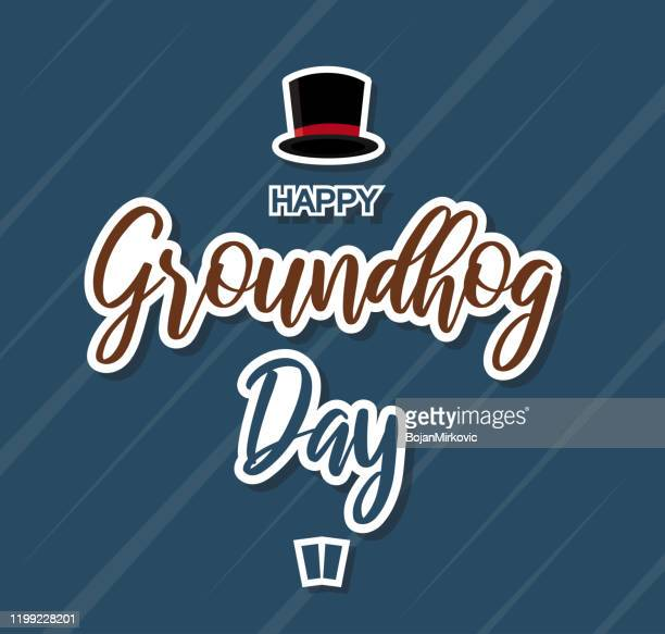 happy groundhog day paper sign card. vector - groundhog day stock illustrations