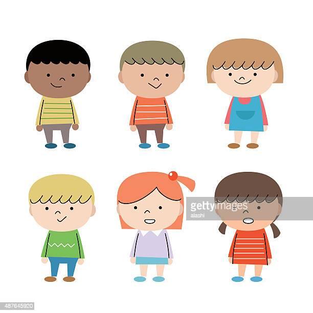 幸せなグループの多民族の子供