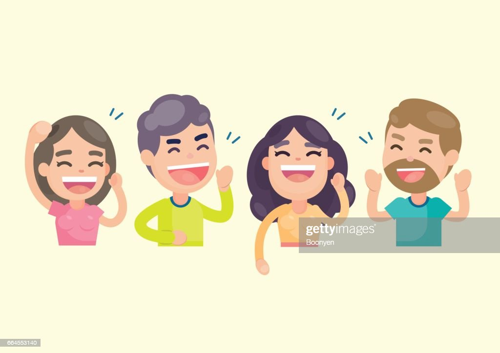 Happy group of people having fun and smiling laughing together, Vector character illustration.